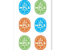 Love MPLS Parks badge logo stickers in red, green, and blue