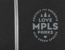 Detail of Love Mpls Parks Zip Hoodie in charcoal grey