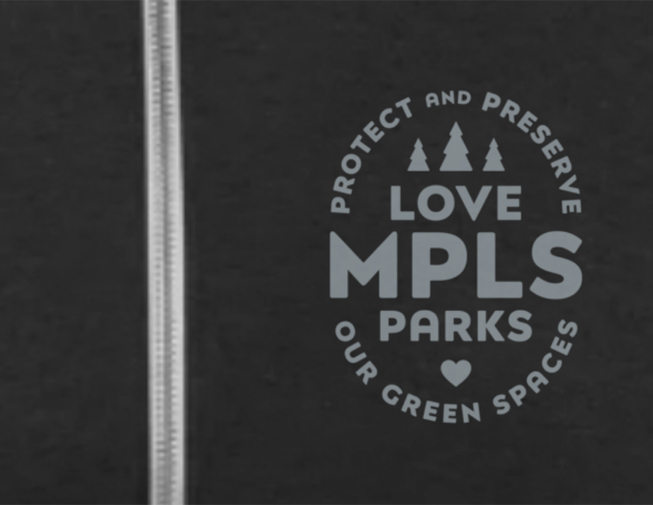 Detail of Love Mpls Parks Zip Hoodie in charcoal grey