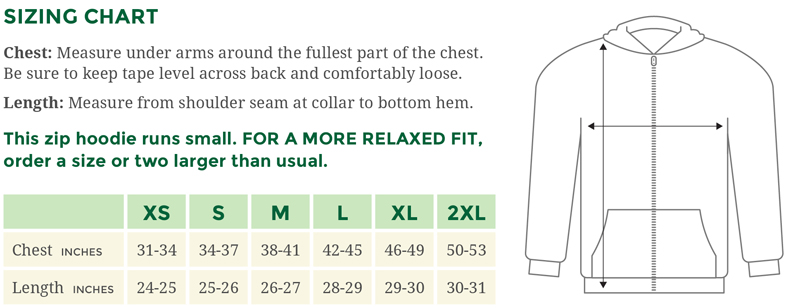 Love Mpls Parks Zip Hoodie Sizing Chart