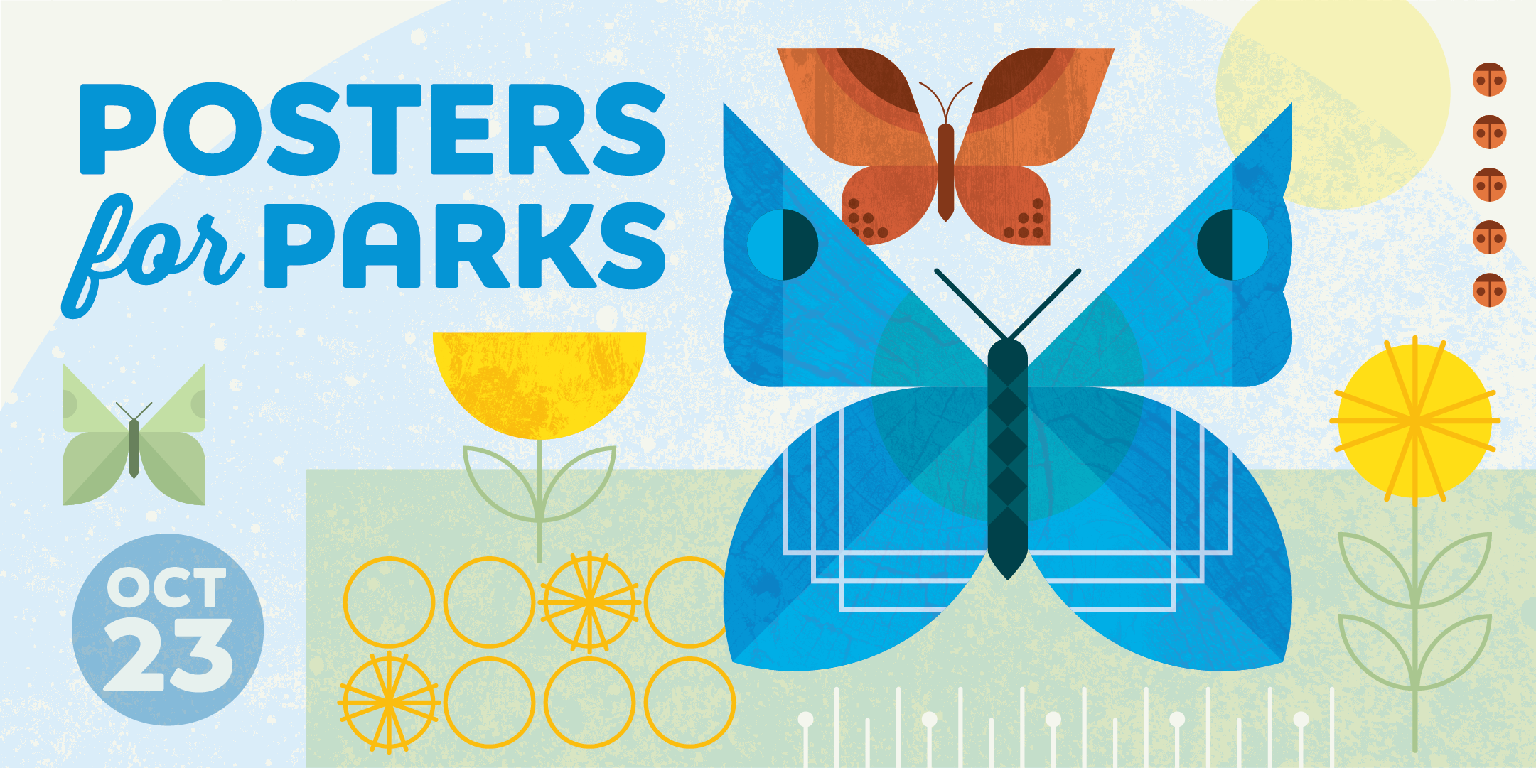 Posters for Parks, October 23, 2021, Event banner with colorful butterflies and flowers