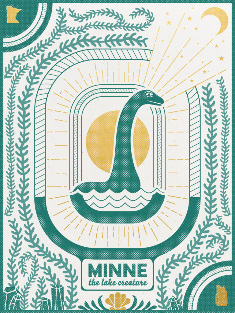 Minne the Lake Creature poster by Monica Helland
