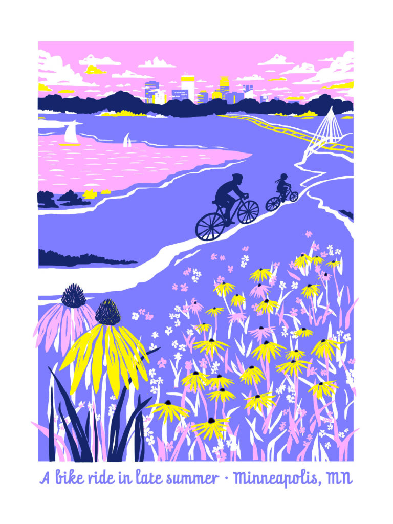 A Bike Ride in Late Summer poster by Dana Koehler